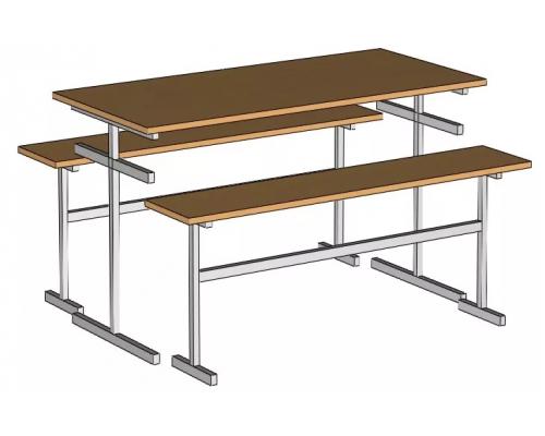 Стол обеденный для  столовой 6-ти местный ( столешница пластик)