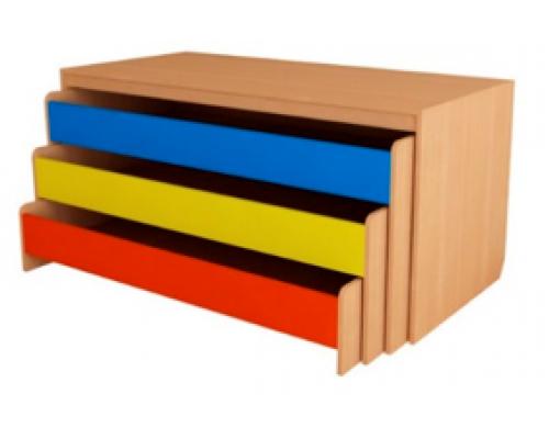 Кровать трехъярусная выкатная с коробом 1666х716х956, цветной фасад