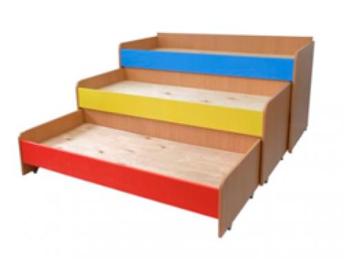 Кровать трехъярусная выкатная без короба 1634х716х926, цветной фасад